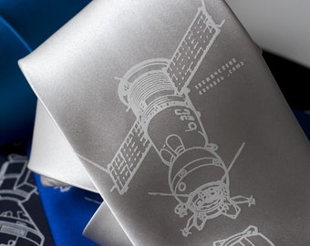 "Rocket Science ""Cosmonaut Apollo-Soyuz"" silkscreen tie. Men's screen printed necktie. White ink."