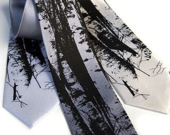 Birch Trees tie. Silkscreen design, microfiber necktie. Choose standard or narrow size.