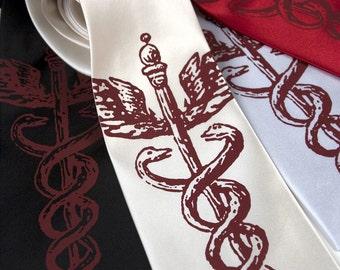 Caduceus, medical symbol necktie. Silkscreen design, microfiber tie. Crimson red ink. Standard, narrow or extra long tie.
