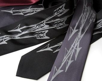 Arrow necktie. Archery, hunting arrows tie. Silkscreen design, dove gray print. Choose standard or narrow size men's necktie.