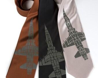 "Fighter jet necktie. ""Tie Fighter"" airplane silkscreen tie. F-5 jet print. Olive green screenprint."