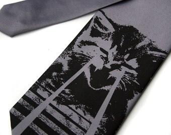 Laser Kitten tie. Men's silver silk necktie. omg cats. Regular width. Silkscreen tie. Choose more colors if you prefer.