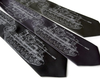 Tank necktie.  Dove gray silkscreen military tank print. German Panzer print tie. Choose standard, narrow or extra long.