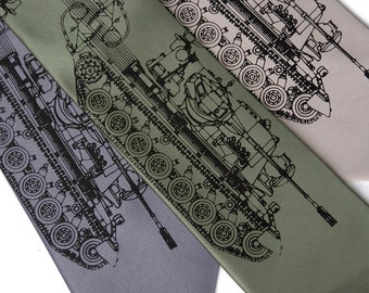 "Tank necktie. ""Tanked."" Silkscreen necktie. German Panzer tank print. Black print. Choose standard or narrow width."