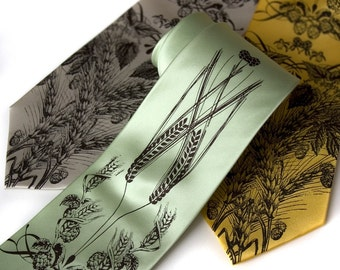 Beer Necktie. Craft beer lover gift, beer drinker gift. Hops, barley & wheat print. Silkscreen men's silk tie. Espresso brown print.