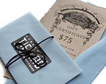 75 Dollar Gift Card. Gift Certificate for Cyberoptix Neckties, Pashmina Scarves, Bow Ties, Ascots & Pocket Squares.