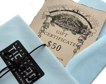 50 dollar gift certificate, Gift card for Cyberoptix neckties or scarves.