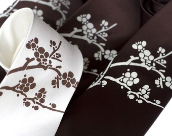 Cherry Blossom botanical silk necktie, Sakura - Asian inspired floral men's tie. Standard or narrow tie.