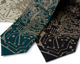 "Circuit Board Tie. ""Short Circuit"" men's necktie. Computer science gift. Silkscreened circuit board, antique brass print."