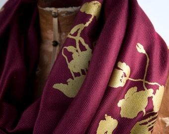 Poppy floral printed scarf. Large maroon Pashmina scarf. Silkscreened metallic gold print.
