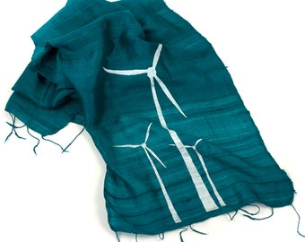 Wind Turbine scarf, teal and white. Silkscreened woven fair trade silk.