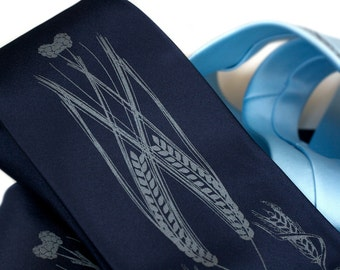Beer necktie. Hops, barley & wheat men's tie. Choose navy, black, charcoal, sky blue tie. Dove gray screenprint. Your choice of tie width.