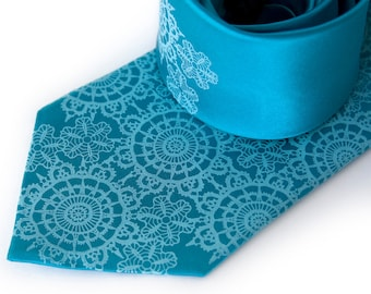 Cottage Lace, turquoise silk necktie. Doily pattern screenprinted men's tie. Pool blue tone on tone print..