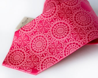 Cottage Lace. Fuchsia silk necktie. Doily pattern screenprinted men's tie. Hot pink tone on tone print.