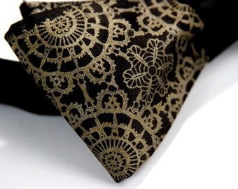 "Black ""Cottage Lace"" bow tie. Self-tie, freestyle mens bow tie. Silkscreened antique brass print."