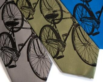 Triple Cruiser necktie. Bicycle silk tie. Classic cycling & biking silkscreen men's necktie. Black print. Your choice of tie colors.