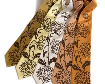 """Custom Ties. 5 wedding neckties. Mens floral ties, 20% group discount. Screenprinted design. """"Chrysanthemum"""" print. Wedding accessories."""