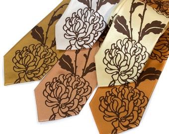 Chrysanthemum necktie. Asian floral print tie. Silkscreened chocolate brown print, your choice of size. Groomsmen gift, groom's tie.