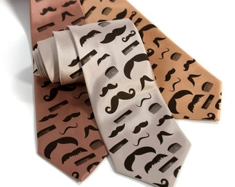 Flying mustaches and combs necktie. Silkscreened barber tie. Espresso brown moustache print.