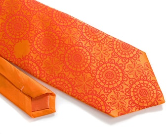 Carrot orange silk necktie, Cottage Lace. Tangerine tango silkscreened men's tie. Dark coral print.