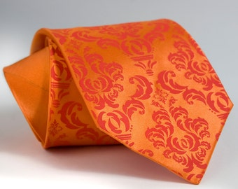 Carrot orange Damask necktie. Tangerine Tango silkscreened men's microfiber tie. Dark coral print.