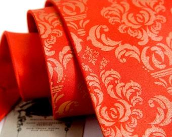 Coral orange Damask silk necktie. Tangerine Tango silkscreened men's tie. Tangerine print.