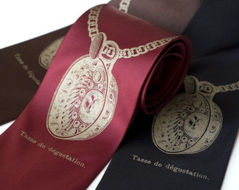 "Wine lovers silkscreened necktie. ""Sommelier"" tasting cup vegan safe microfiber. Antique brass ink, choice of colors."