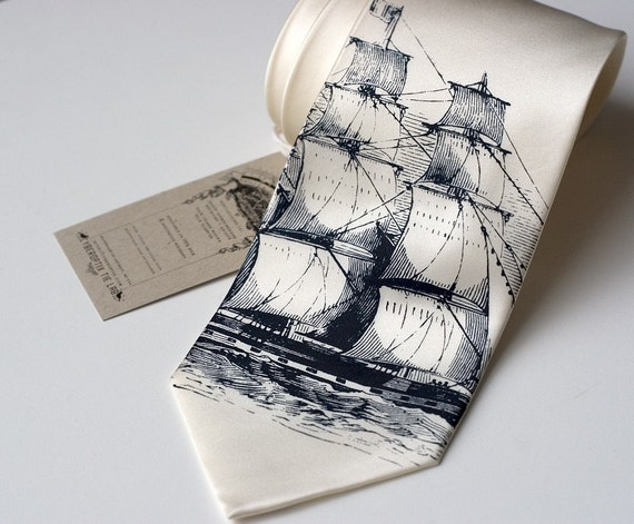 Clipper ship silkscreen necktie, navy ink on cream SILK tie