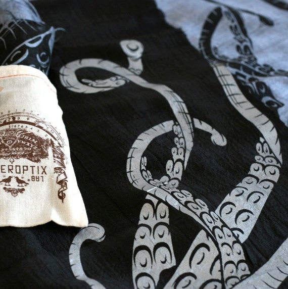 Sucker octopus scarf. Choose silver or black hand silkscreened woven silk.
