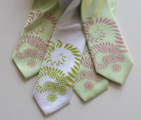 4 custom groomsmen neckties. Wedding tie group discount, matching ties, silkscreen design. Vegan safe microfiber.