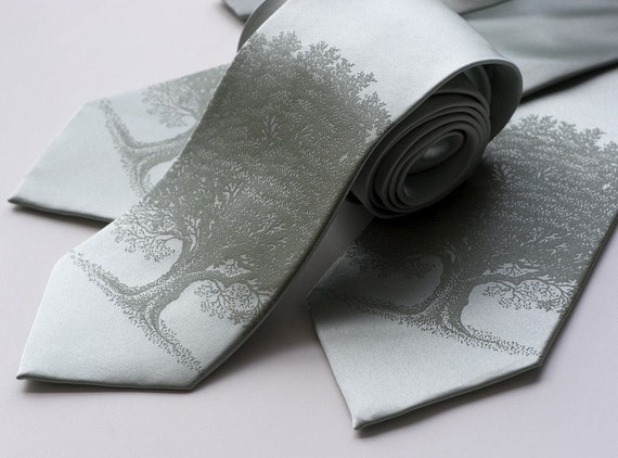 3 silk wedding neckties. Groomsmen ties, matching printed design - custom color group discount.
