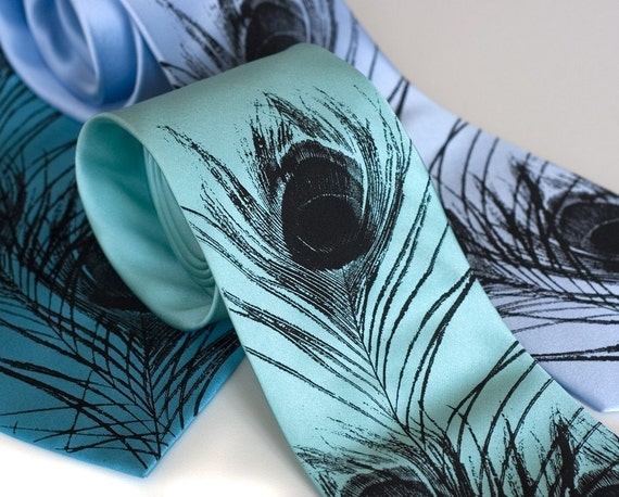 Peacock feather men's silk necktie. Silkscreened tie, black print.