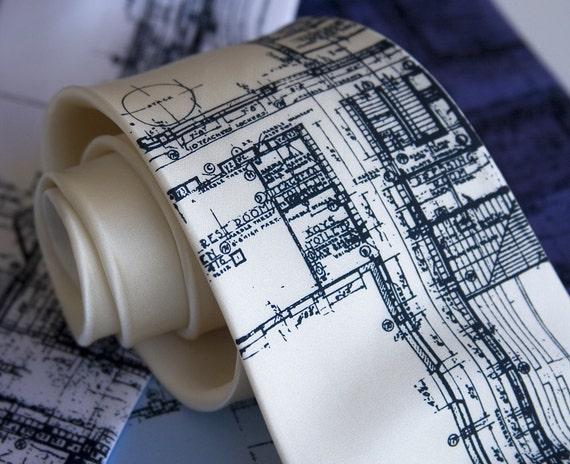 """Detroit Blueprint necktie. Architect gift. Men's silk tie. Silkscreened """"Cass Tech Detroit."""" navy blue print."""