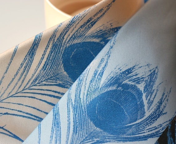 Peacock feather men's necktie. Silkscreened microfiber tie. Standard, narrow or extra long tie.