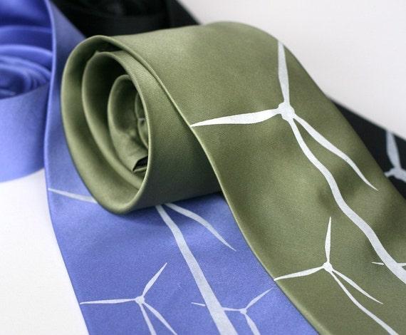 Wind Turbine silk necktie, white silkscreen print, windmill screenprinted tie.