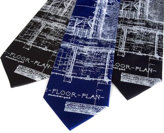 Blueprint Necktie, Architect gift. Detroit's Cass Tech mens silk tie. Architecture design, white silkscreen print. City planner gift.