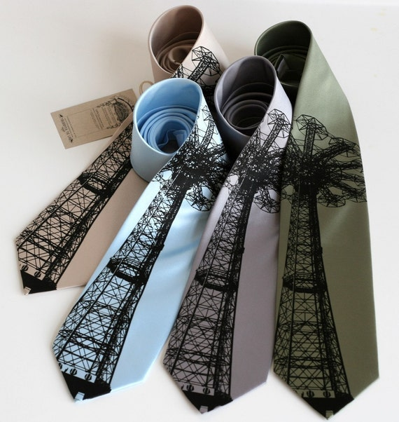 Coney Island Parachute Jump tie. Screenprinted microfiber necktie. Choose standard or narrow.