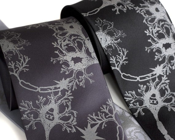 Neuron Necktie. Fried Brains axon & dendrite silkscreened neuroscience tie. Men's silk necktie. Dove gray print on black, cream or grays.