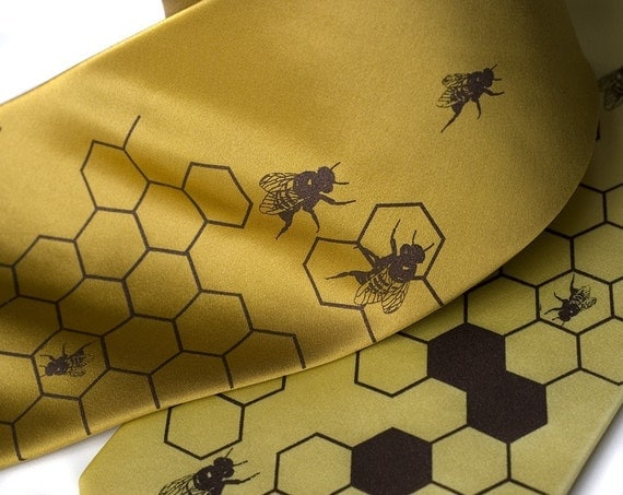 "Gold silk beehive necktie. ""Oh Honey."" Silkscreened honeybee men's tie, chocolate brown ink."