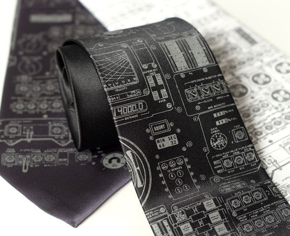 Rocket Science men's necktie. Apollo cockpit silkscreened microfiber tie. Dove gray ink. Choose black, charcoal or white.
