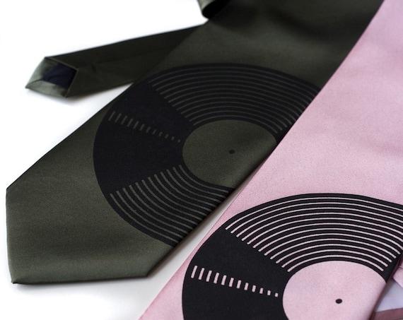 Vinyl Record necktie. Silkscreeed men's tie. Microfiber. Standard width tie. Black print.