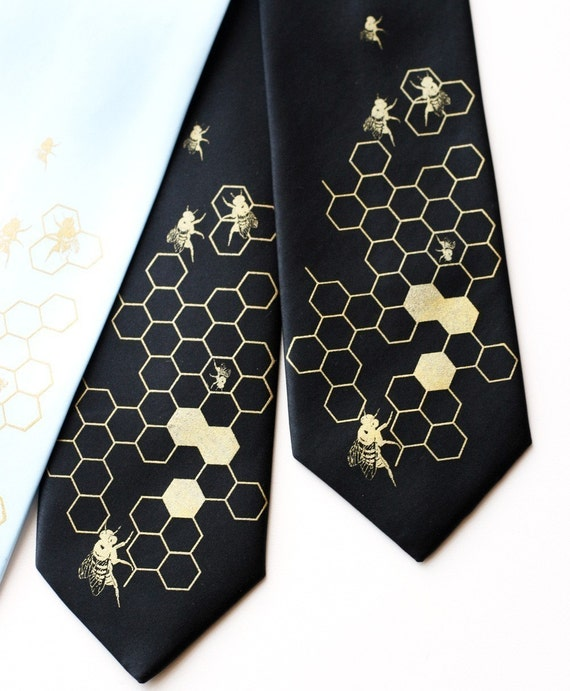 "Bee Hive men's necktie. Silkscreened ""Oh Honey"" tie. Your choice of color and width: black gold & more. Microfiber. Beekeeper, apiary gift."