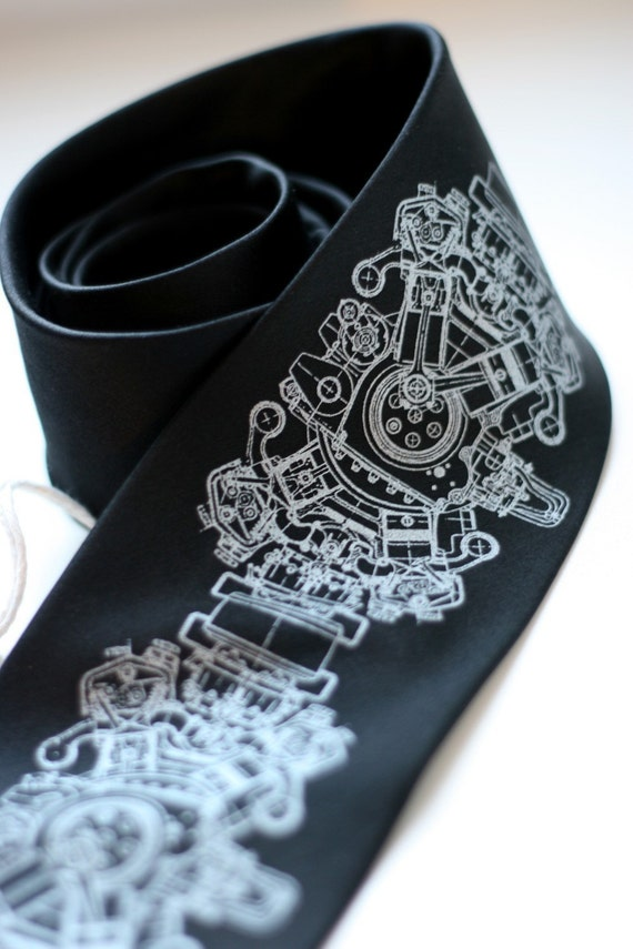 Engine Rosette, standard width black silk screenprinted necktie