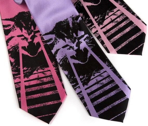 Laser Kitten tie - Silkscreen necktie, microfiber. OMG cats. Choose narrow or standard.