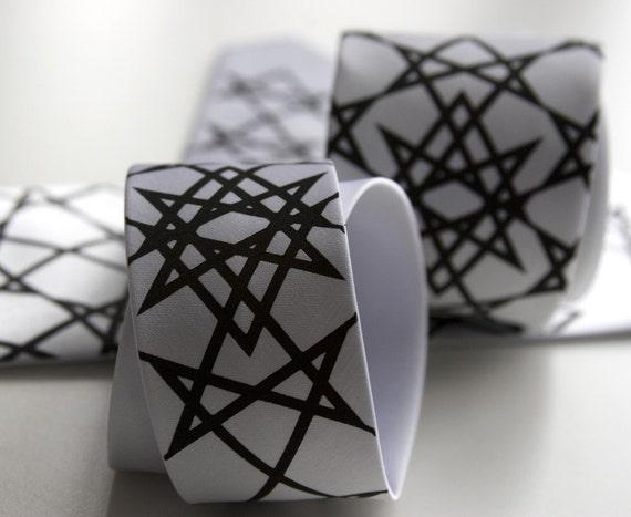 "Geometric print necktie. ""Unicursal Hexagram"" single print. Screenprinted microfiber tie. Choose standard, narrow or skinny."