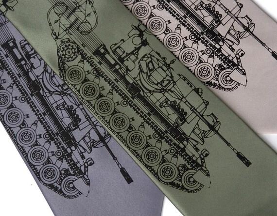 "Tank necktie. ""Tanked."" Silkscreen necktie. German Panzer tank print. Black print. Choose standard or narrow width."