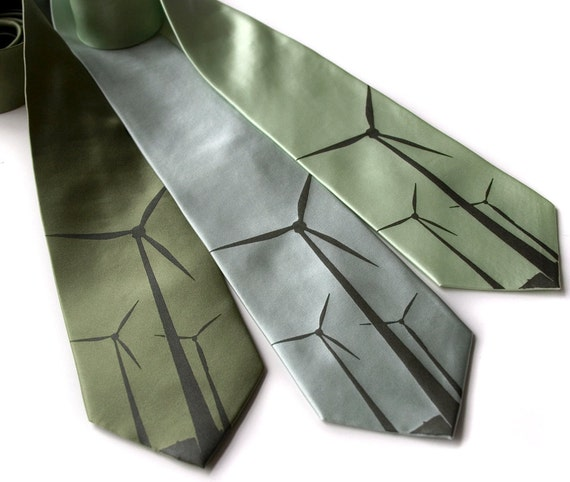 Wind Turbine men's necktie, green power. 100% silk tie, windmill silkscreen print, golden olive ink.