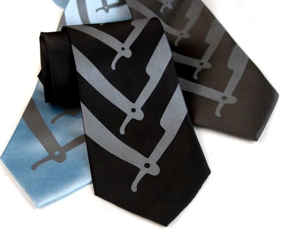 "Shaving Necktie. Straight Razor Print Tie. ""Cut Throat"" silkscreen chrevron printed tie. Narrow, standard or XL tie."