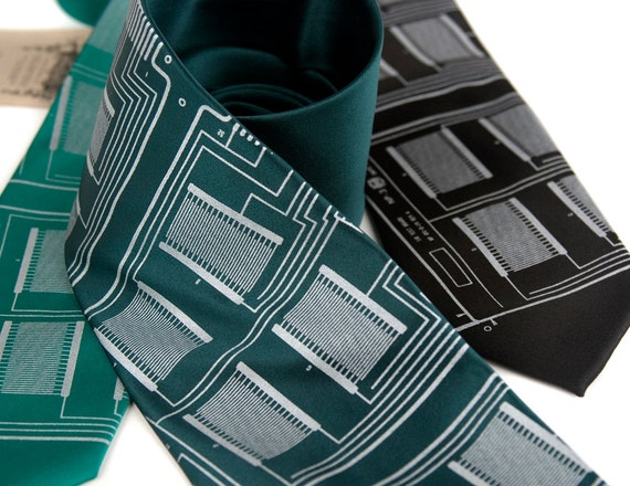 "Circuit board necktie, ""Microchip""  Choose standard, narrow or skinny. Silver vegan friendly screenprint."