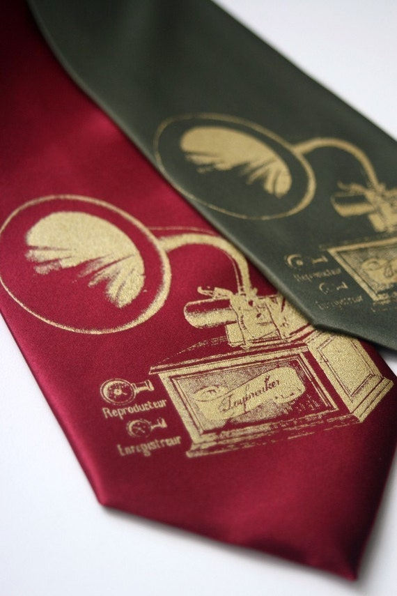 Antique phonograph screenprinted necktie